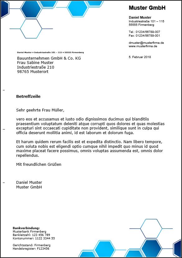 Word Briefvorlage für Fensterumschläge - Modern - office