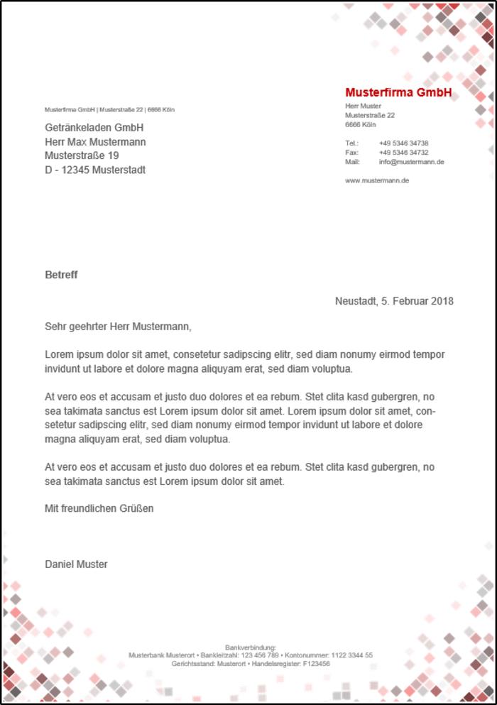 Word Briefvorlage Für Fensterumschläge Rote Quadrate Office