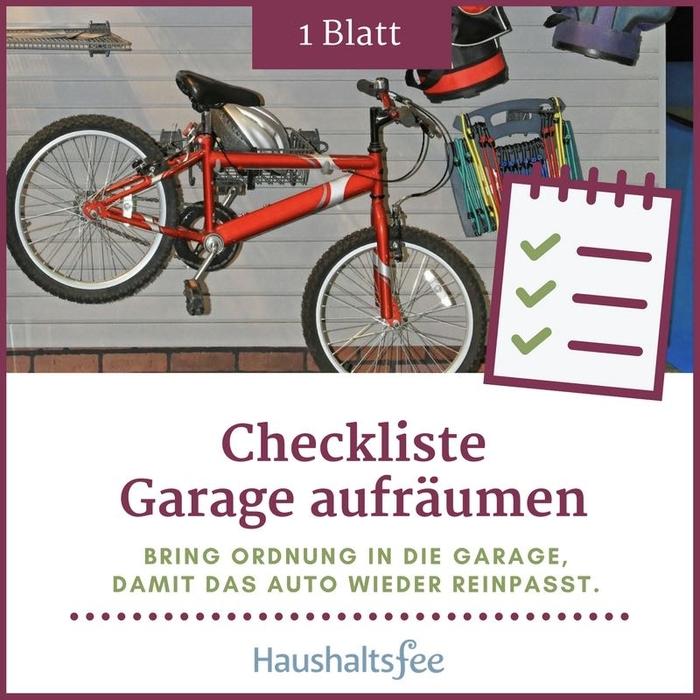 Garage aufräumen nutze jetzt die Haushaltsfee Checkliste   elopage