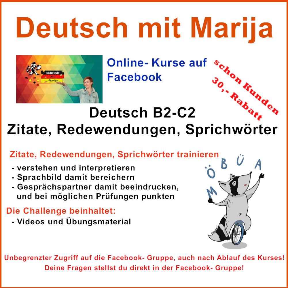 Deutsch B2 C2 Zitate Redewendungen Sprichwörter Deutsch