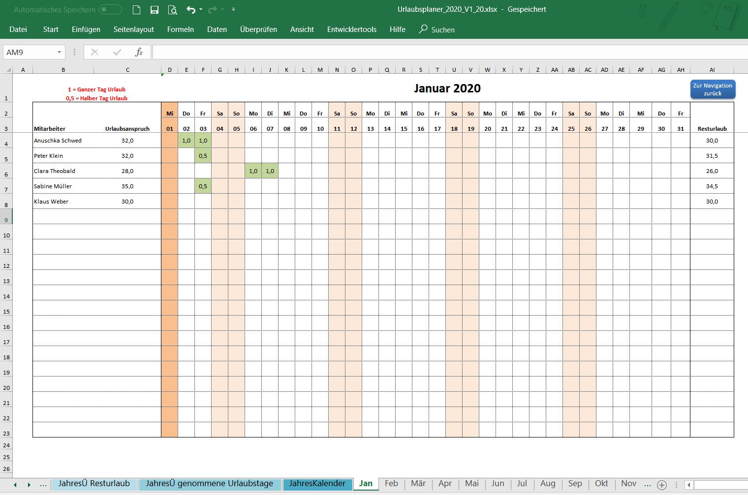 Urlaubsplaner Excel 2021
