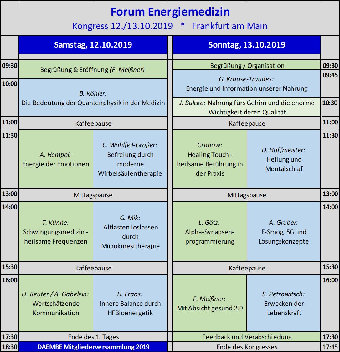"""Programm des Forum Energiemedizin """"MIt Informationen heilen - Geht das?"""""""
