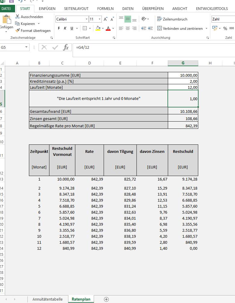 Kreditrechner Und Annuitatenrechner Als Excel Vorlage Tmarek Elopage