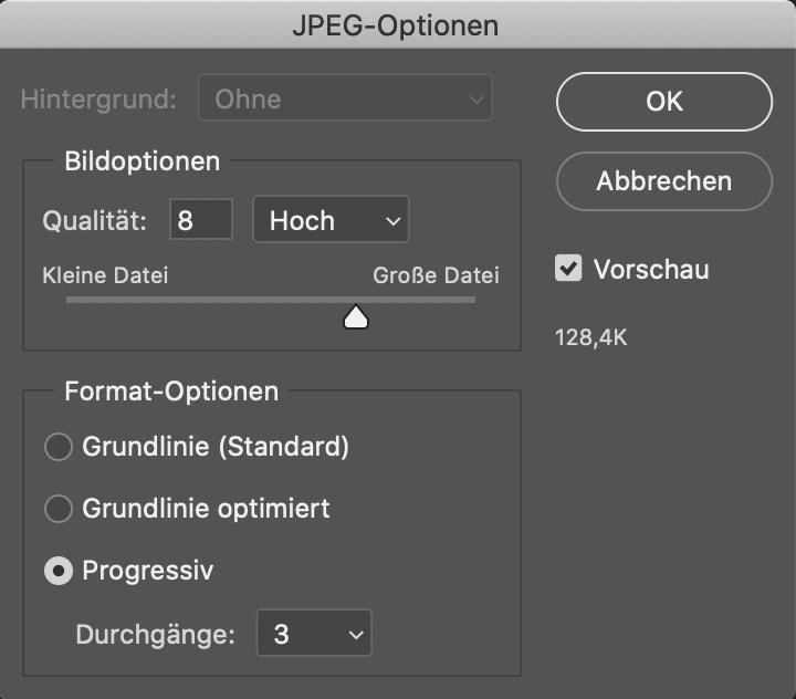 JPEG-Optionen in Photoshop