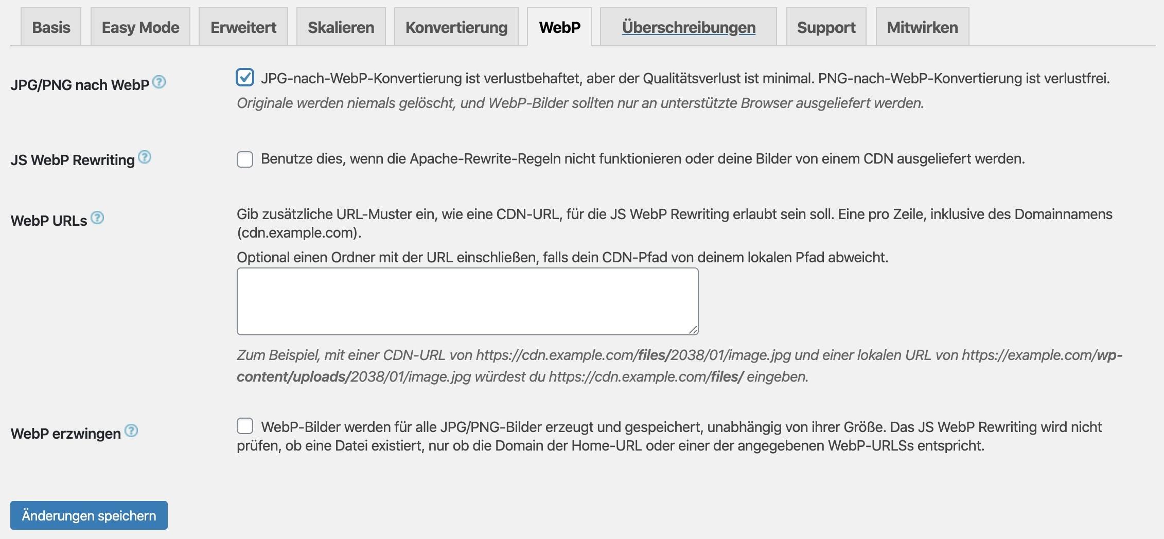 WebP beim EWWW Image Optimizer