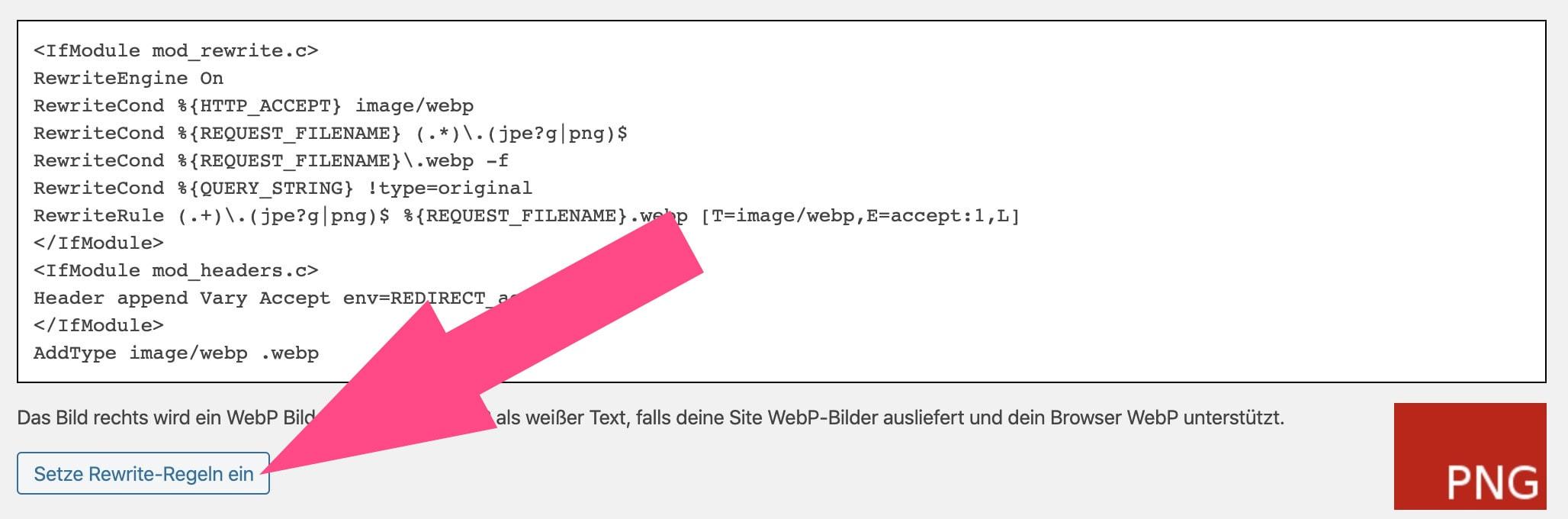 WebP rewrite Regeln