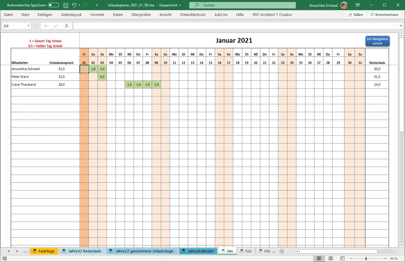 2021: Excel-Urlaubsplaner bis 100 Mitarbeiter - MS-Office ...
